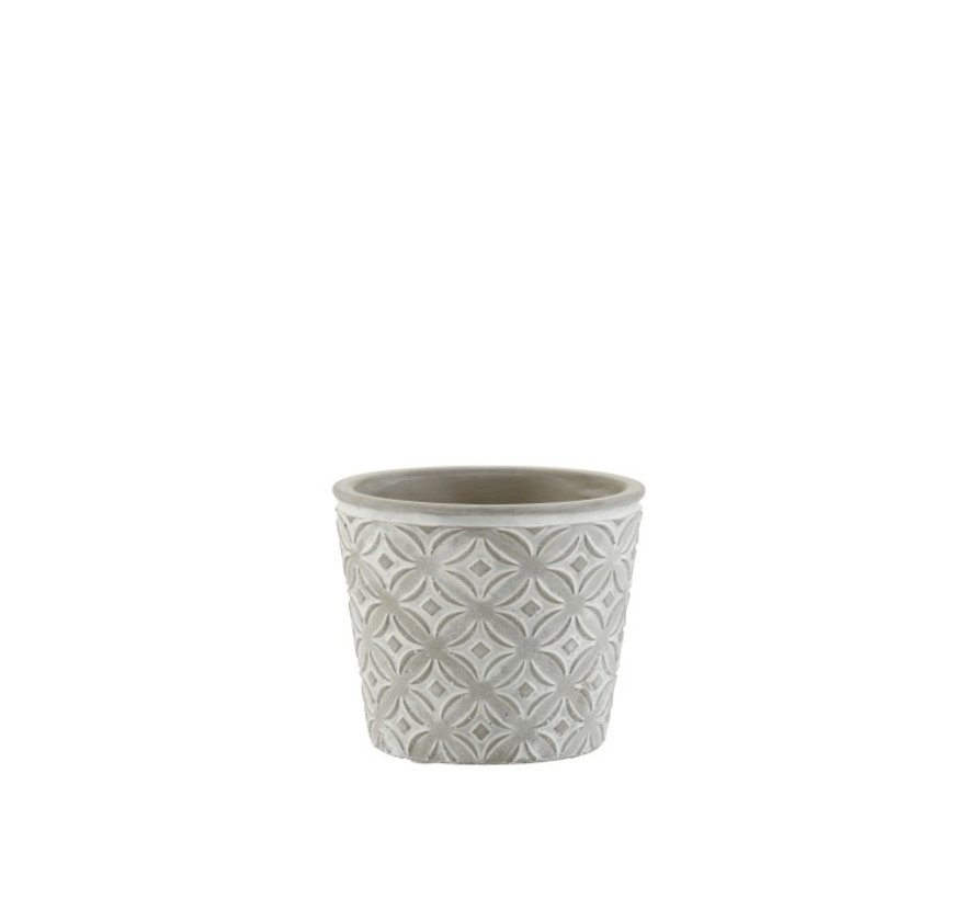 Flowerpot Oriental Patterns ceramic Gray - Small