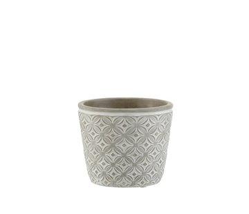 J -Line Flowerpot Oriental Patterns ceramic Gray - Medium