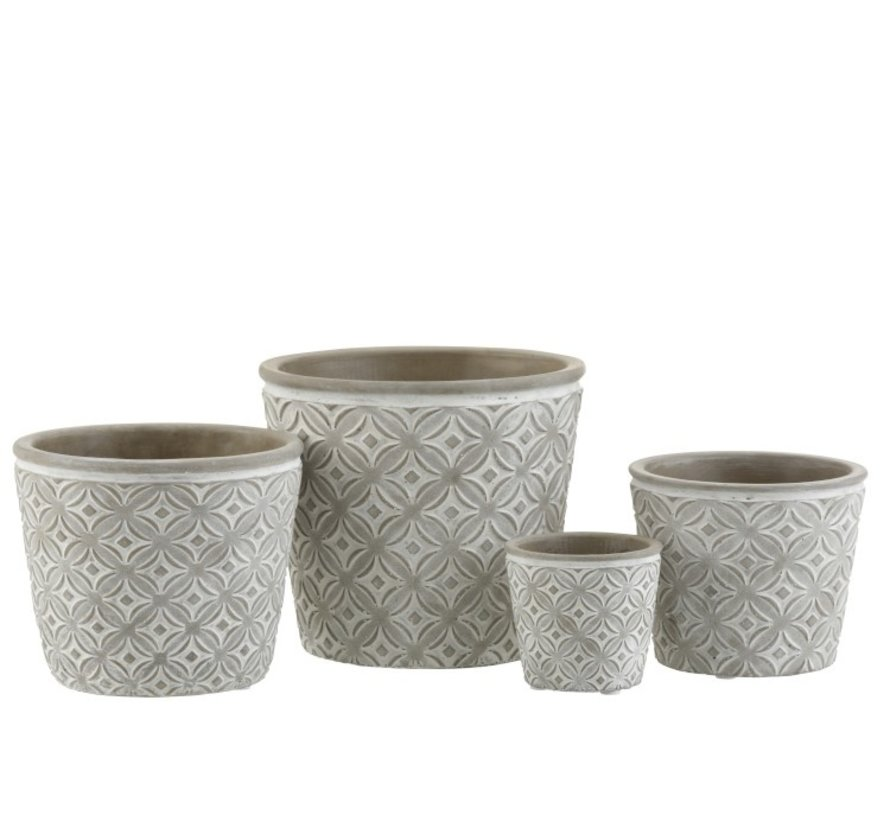Flowerpot Oriental Patterns ceramic Gray - Medium