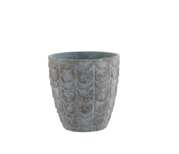 J -Line Flowerpot Scales ceramic Blue Gray - Small