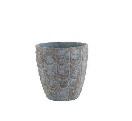 J -Line Bloempot Schubben keramiek Blauw Grijs - Small