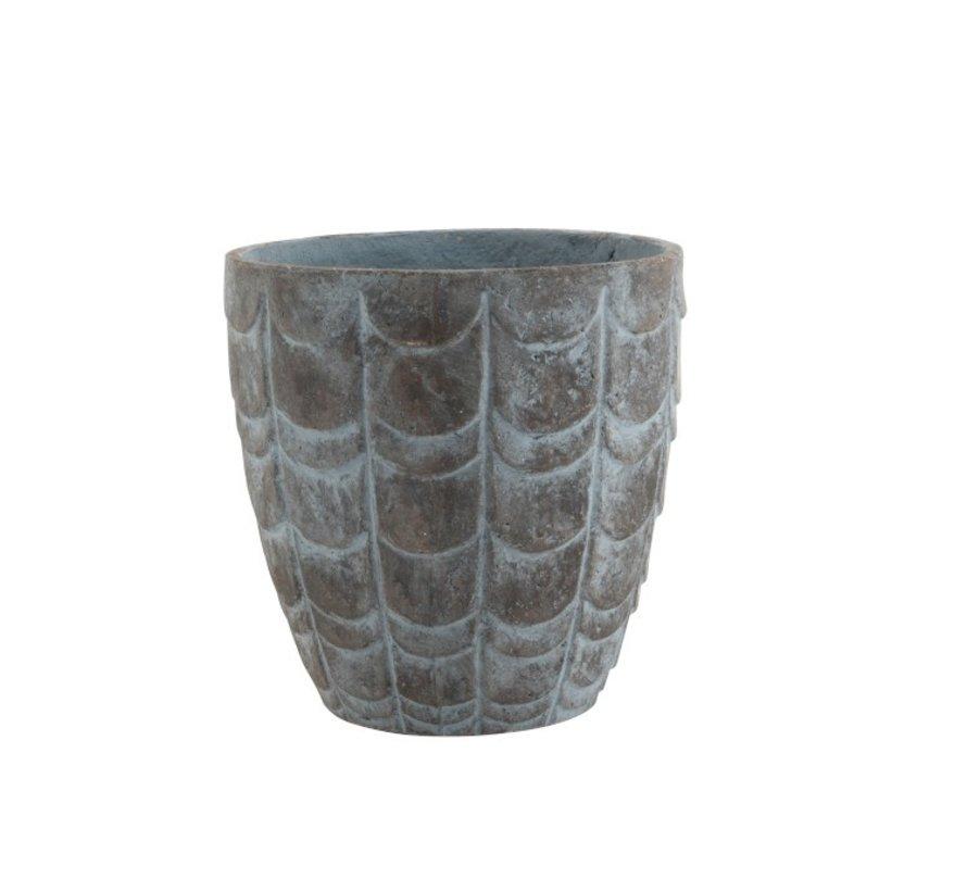 Bloempot Schubben keramiek Blauw Grijs - Large
