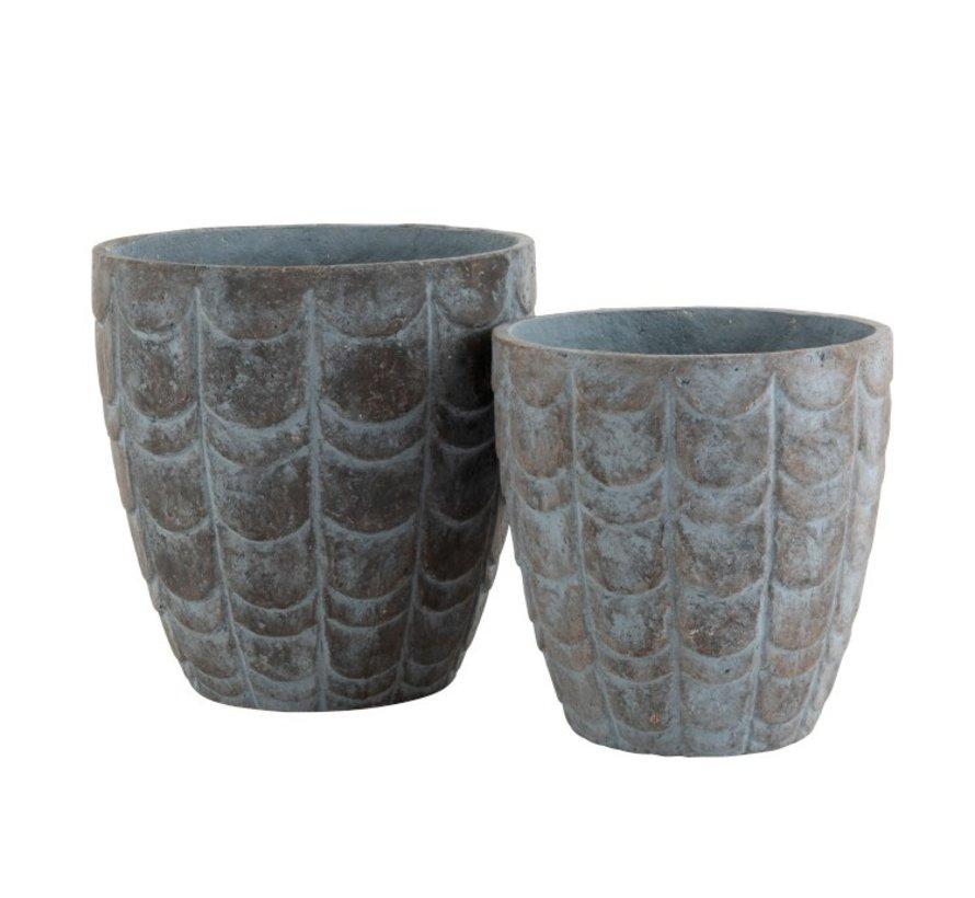 Flowerpot Scales ceramic Blue Gray - Large