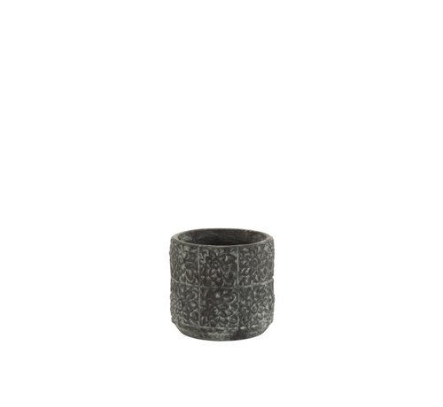 J -Line Bloempot keramiek Relief Bloemen Grijs - Medium