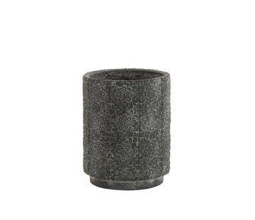 J-Line Bloempot keramiek Hoog Relief Bloemen Grijs - Small