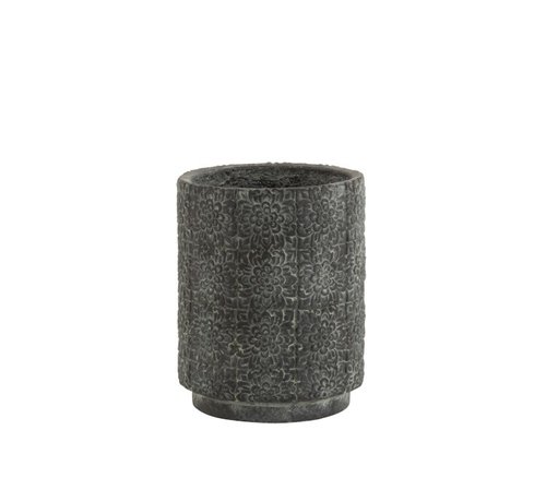 J -Line Flowerpot ceramic High Relief Flowers Gray - Small