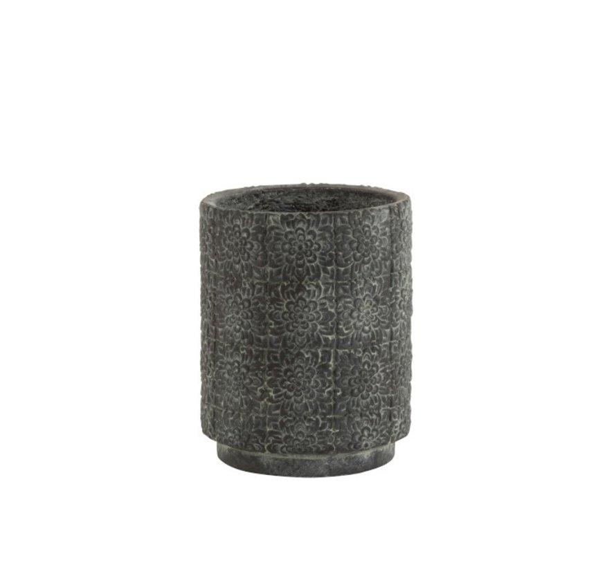 Bloempot keramiek Hoog Relief Bloemen Grijs - Small