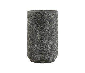 J -Line Bloempot keramiek Hoog Relief Bloemen Grijs - Large