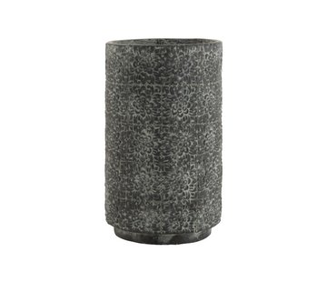 J -Line Flowerpot ceramic High Relief Flowers Gray - Large