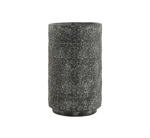 J -Line Flowerpot ceramic High Relief Flowers Gray - Large