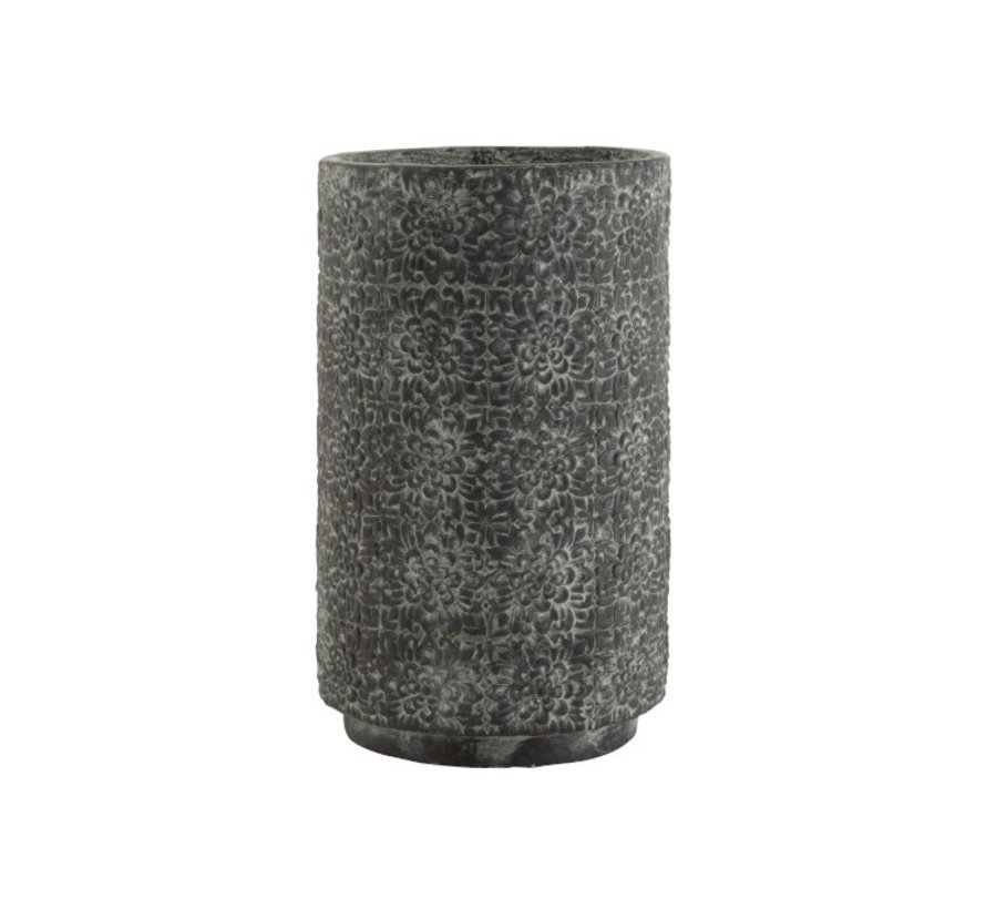 Bloempot keramiek Hoog Relief Bloemen Grijs - Large