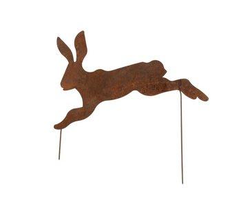 J -Line Garden decoration Rabbit Ironwork Flat Rust - Medium
