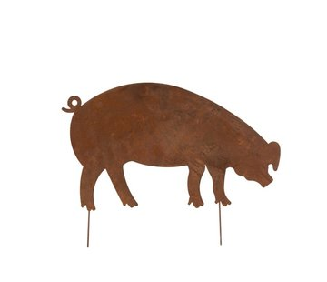 J -Line Garden Decoration Pig Ironwork Flat Rust - Medium
