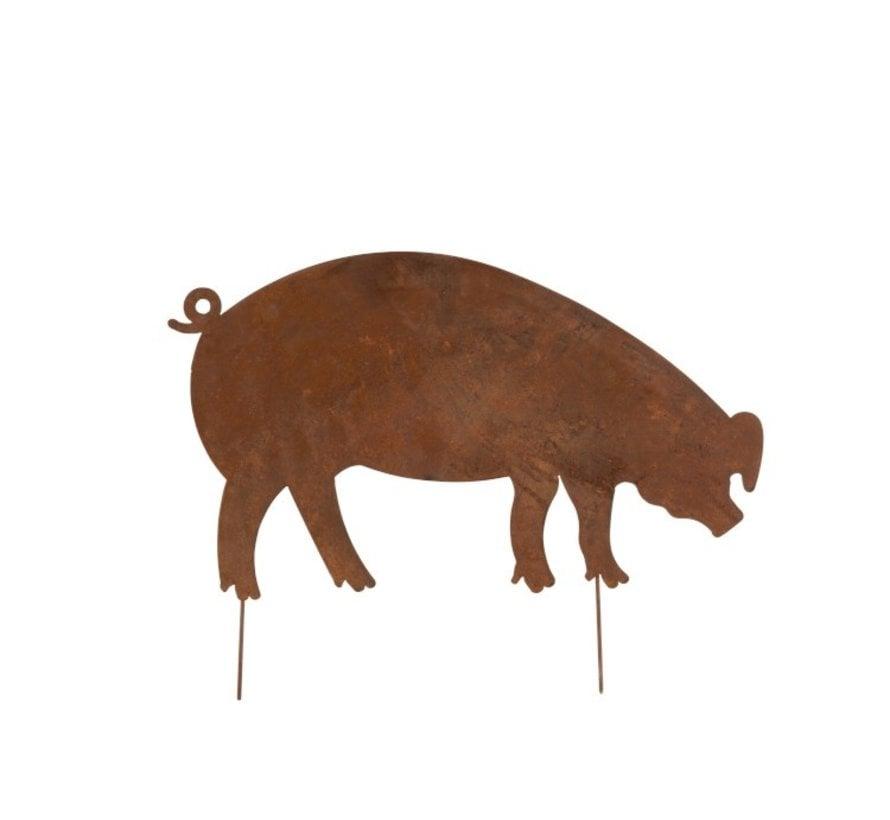 Garden Decoration Pig Ironwork Flat Rust - Medium