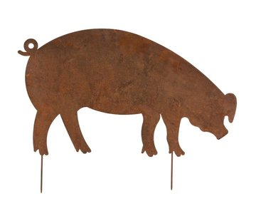 J -Line Garden Decoration Pig Ironwork Flat Rust - Large