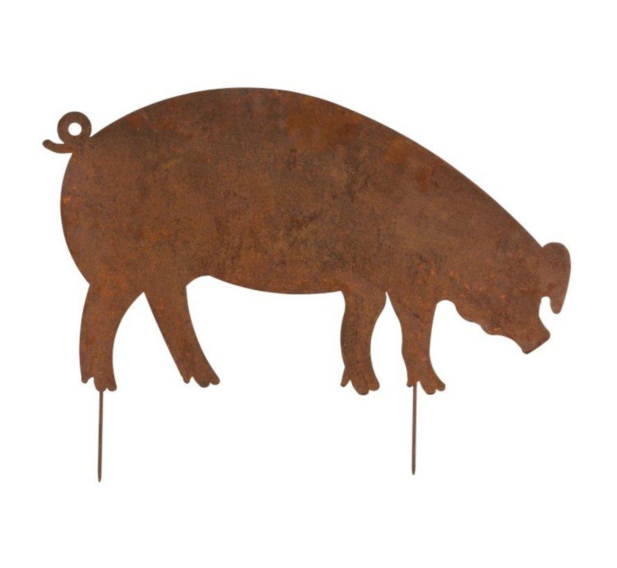 Garden Decoration Pig Ironwork Flat Rust - Large