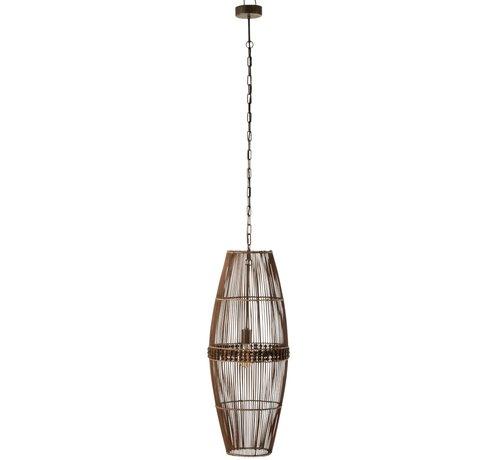 J-Line Hanglamp Bamboo Kralen Natuurlijk - Bruin