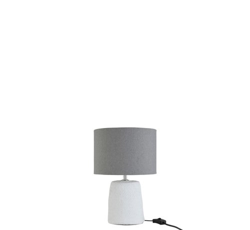 J -Line Table lamp with shade Braided Concrete White Gray - Small