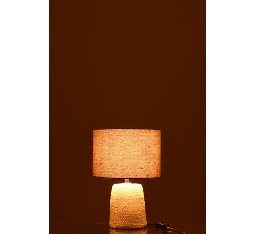 Table lamp with shade Braided Concrete White Gray - Small