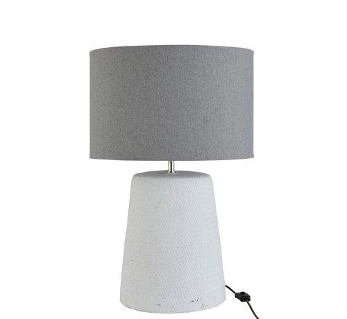 J-Line  Tafellamp Met Kap Gevlochten Beton Wit Grijs - Large