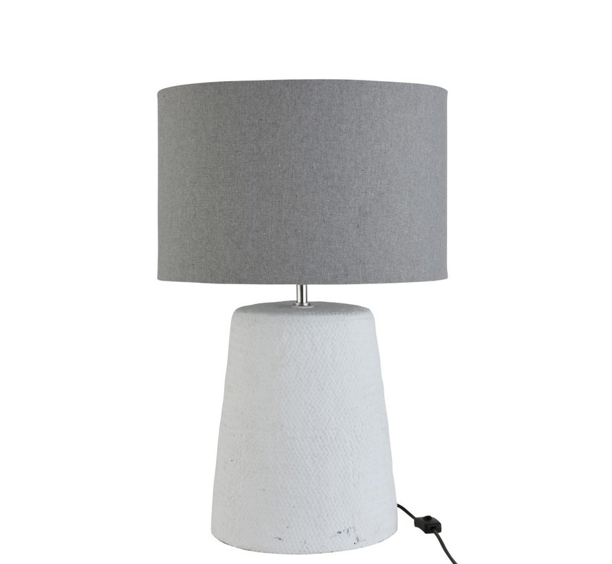 Table lamp with shade Braided Concrete White Gray - Large