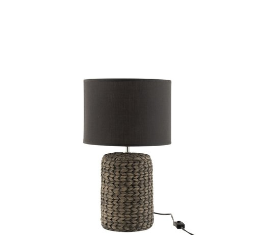 J-Line Table Lamp With Cap Braided Concrete Dark Gray - Small