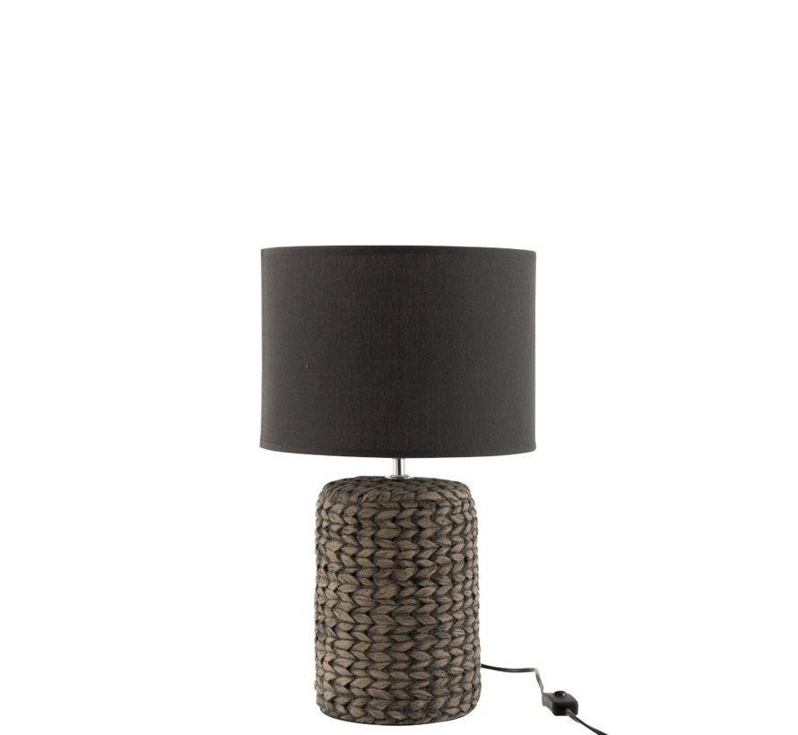 Table Lamp With Cap Braided Concrete Dark Gray - Small