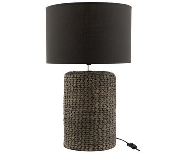 J-Line Table lamp with shade Braided Concrete Dark Gray - Large