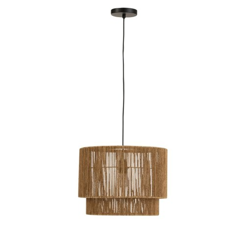 J -Line Hanging lamp Metal Lampshade Rope Brown - Black