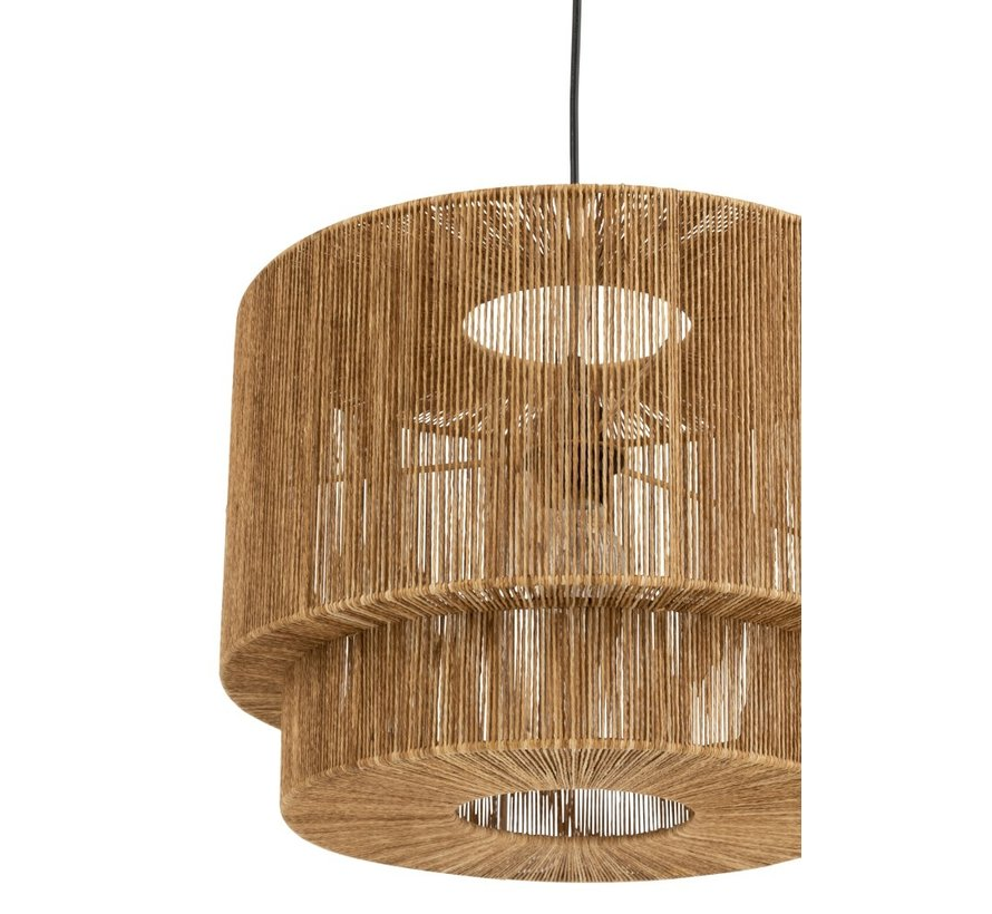 Hanging lamp Metal Lampshade Rope Brown - Black