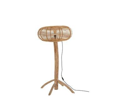 J -Line Floor Lamp Teak Wood Bamboo Natural Brown - Small