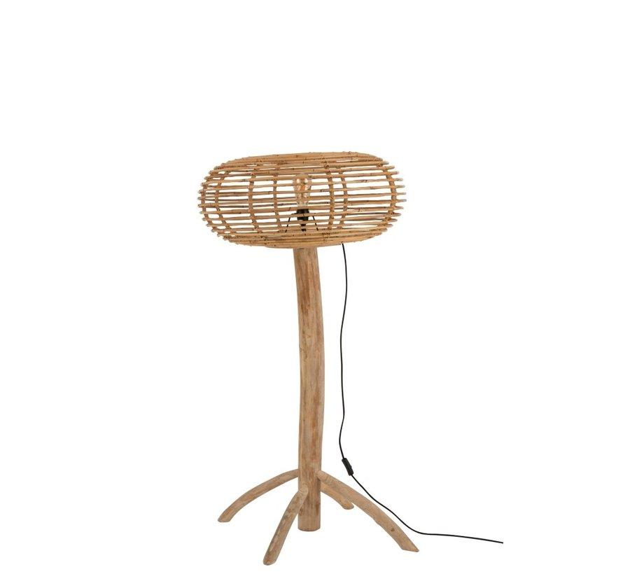 Floor Lamp Teak Wood Bamboo Natural Brown - Small