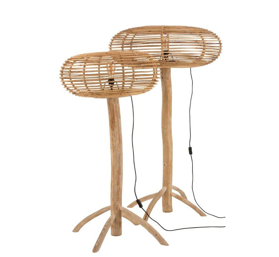 Staande Lamp Teak Hout Bamboo Natuurlijk Bruin - Small