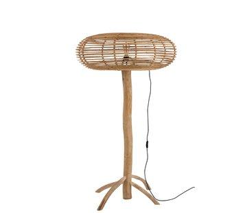 J-Line Floor Lamp Teak Wood Bamboo Natural Brown - Large