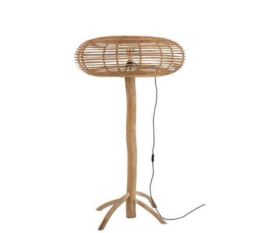 J -Line Floor Lamp Teak Wood Bamboo Natural Brown - Large