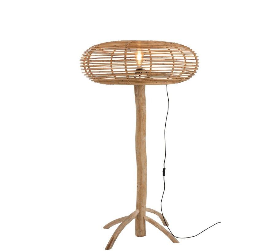 Floor Lamp Teak Wood Bamboo Natural Brown - Large