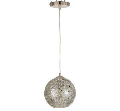J-Line Hanging lamp Glass Metal Mosaic Shiny - Silver