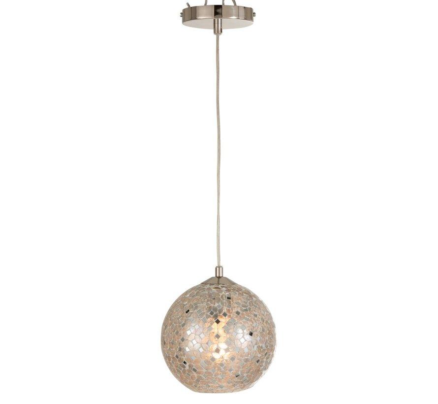 Hanglamp Glas Metaal Mozaiek Blinkend - Zilver