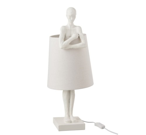 J -Line Tafellamp Steunende Persoon Textiel Poly - Wit