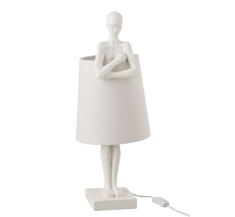 Table lamp Supporting Person Textile Poly - White
