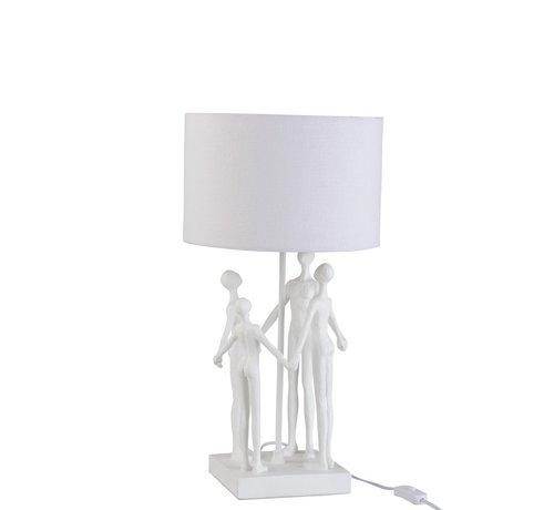 J -Line Tafellamp Gezin Kring Textiel Poly - Wit