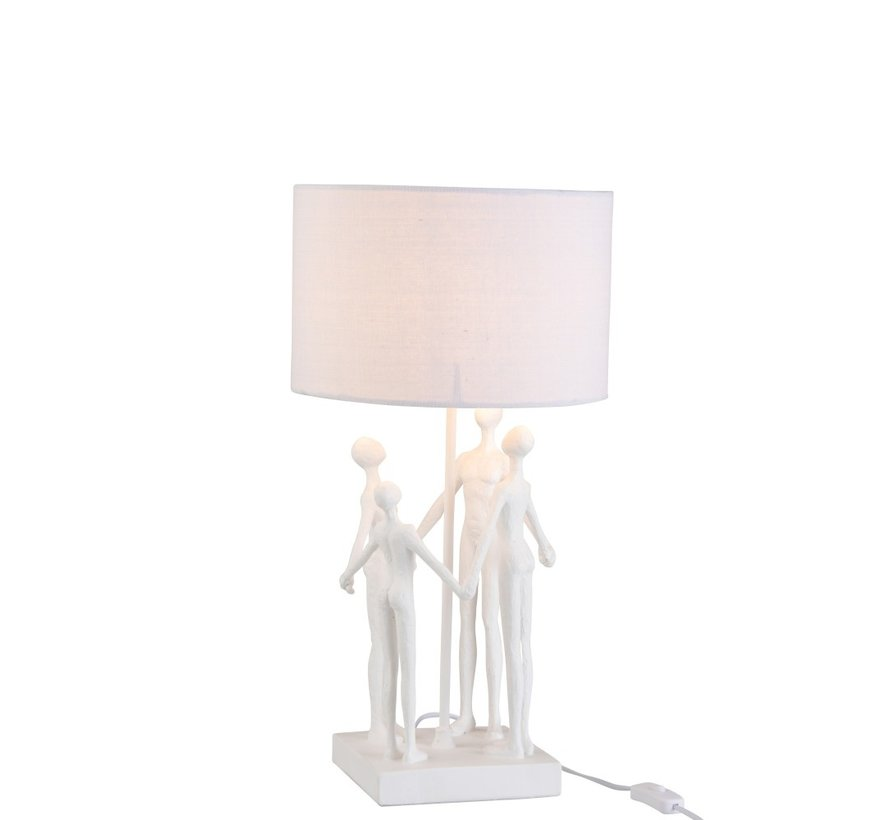Tafellamp Gezin Kring Textiel Poly - Wit