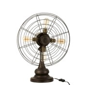 J -Line Table lamp Fan Four Lamps Metal Wood - Brown
