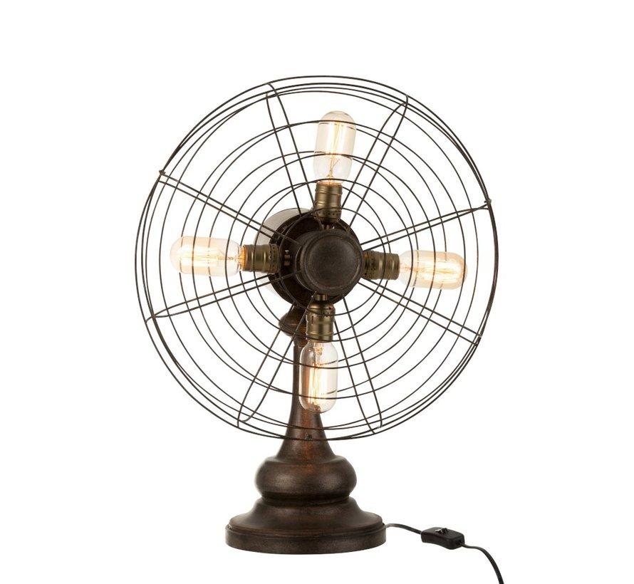 Tafellamp Ventilator Vier Lampen Metaal Hout - Bruin