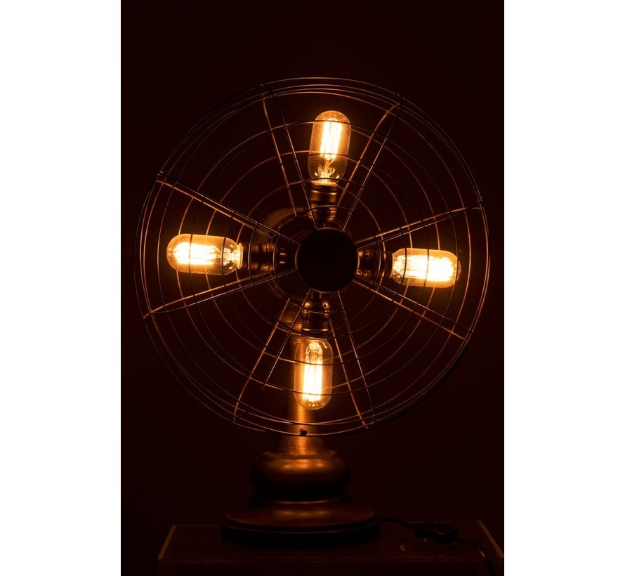 Table lamp Fan Four Lamps Metal Wood - Brown