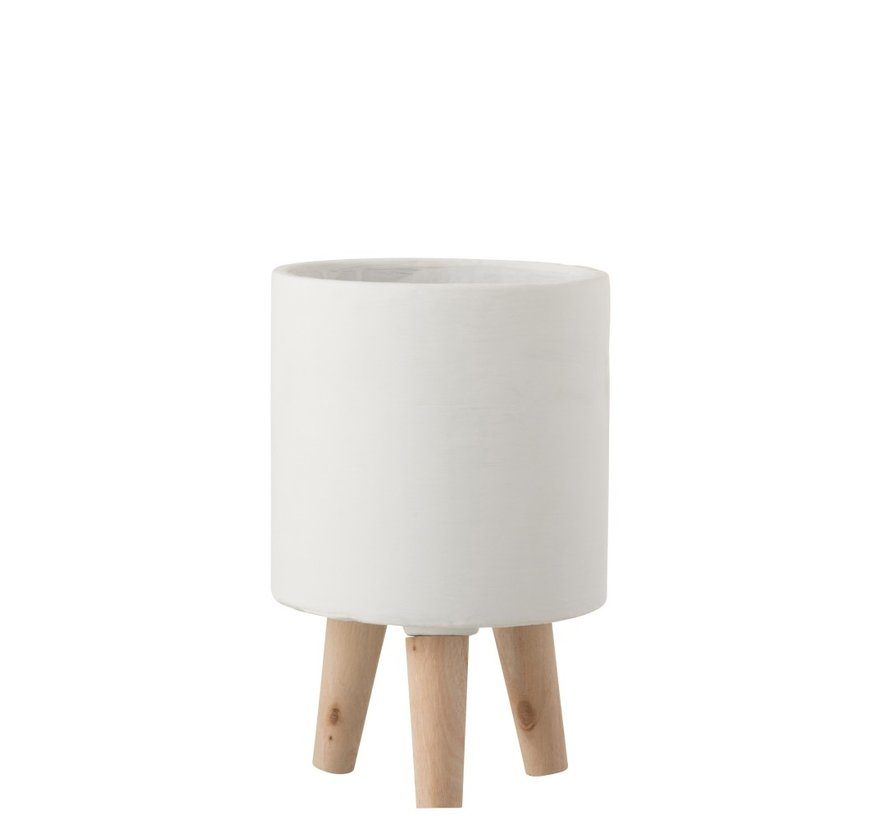 Flowerpot Cement On Leg White Wood - Small
