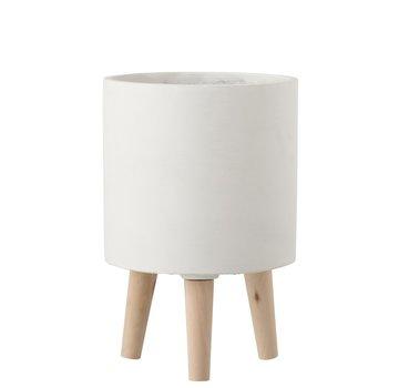 J -Line Flowerpot Cement On Leg White Wood - Large