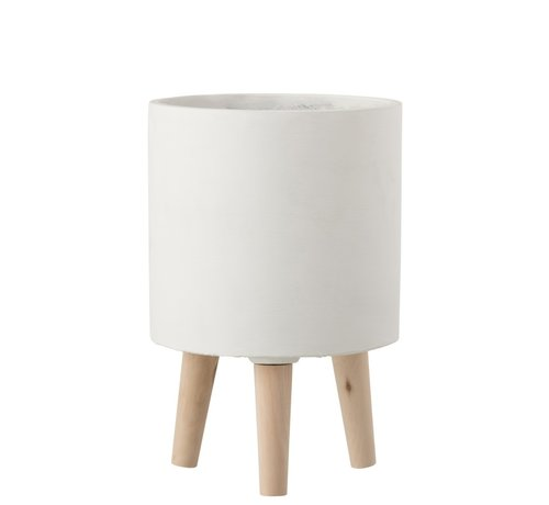 J-Line Flowerpot Cement On Leg White Wood - Large