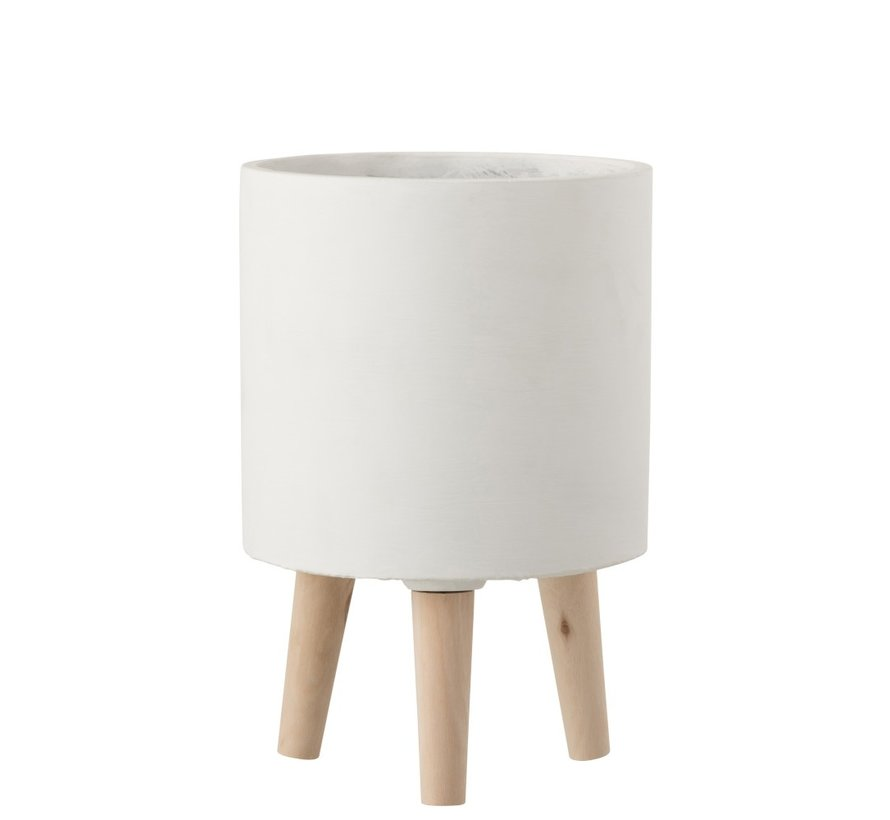 Flowerpot Cement On Leg White Wood - Large