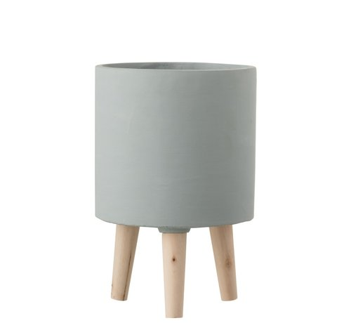 J -Line Flowerpot Cement On Legs Wood Gray-blue - Large